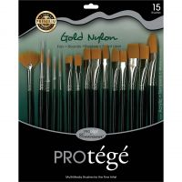 Iron Oxide Art-Connoisseur-Protege-Short-Handle-Gold-Nylon-Paint-Brush-15-Piece-Set